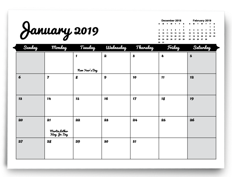 December Calendars 2019 Indesign Calendar Templates | PrintingCenterUSA